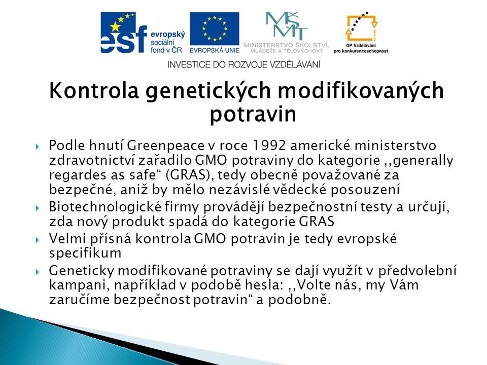Kontrola genetických modifikovaných potravin
