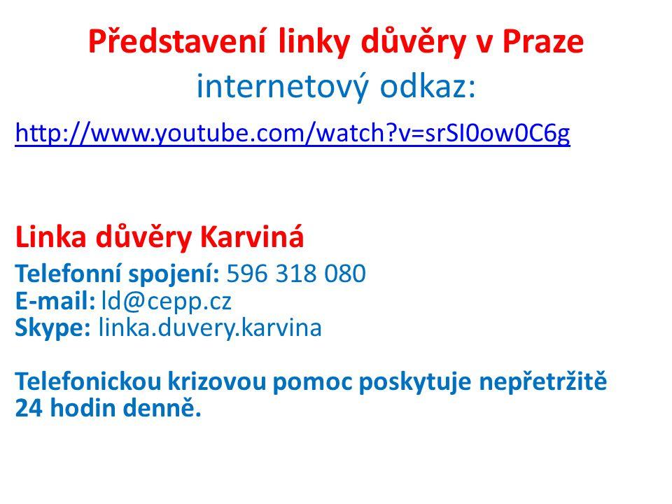 Představení linky důvěry v Praze internetový odkaz:
