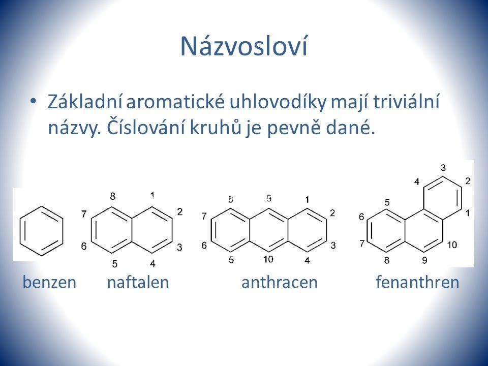 Názvosloví Základní aromatické uhlovodíky mají triviální názvy. Číslování kruhů je pevně dané.