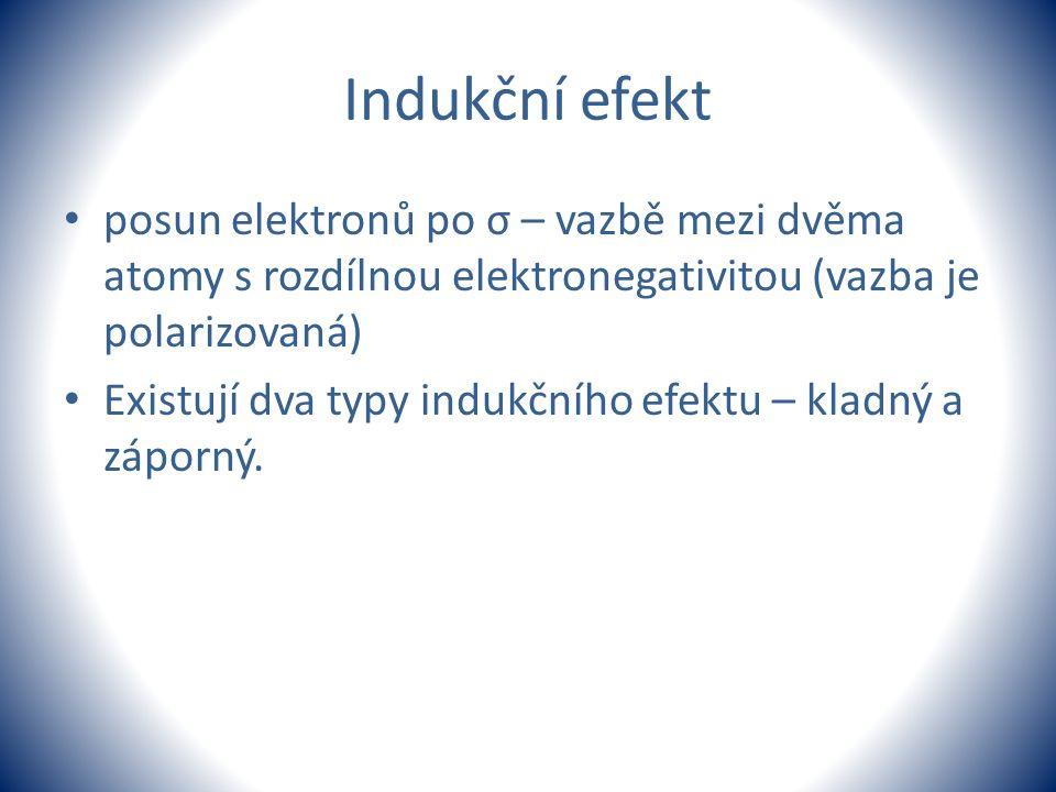 Indukční efekt posun elektronů po σ – vazbě mezi dvěma atomy s rozdílnou elektronegativitou (vazba je polarizovaná)