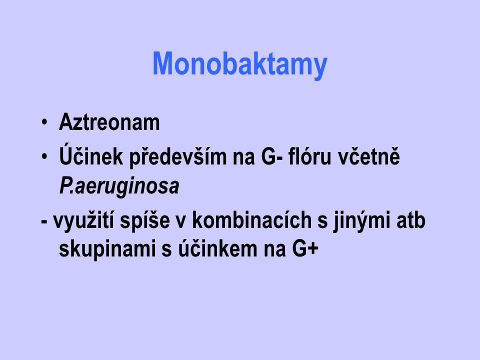 Monobaktamy Aztreonam Účinek především na G- flóru včetně P.aeruginosa
