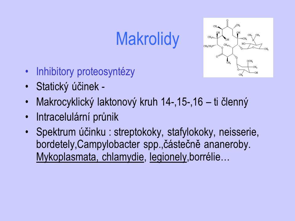 Makrolidy Inhibitory proteosyntézy Statický účinek -