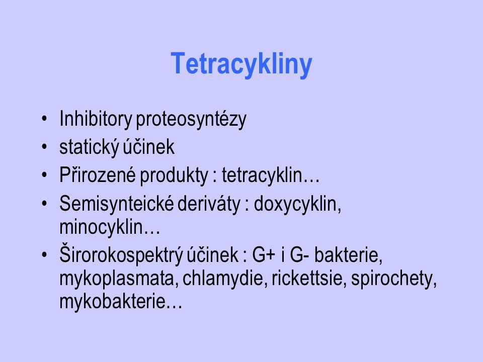 Tetracykliny Inhibitory proteosyntézy statický účinek