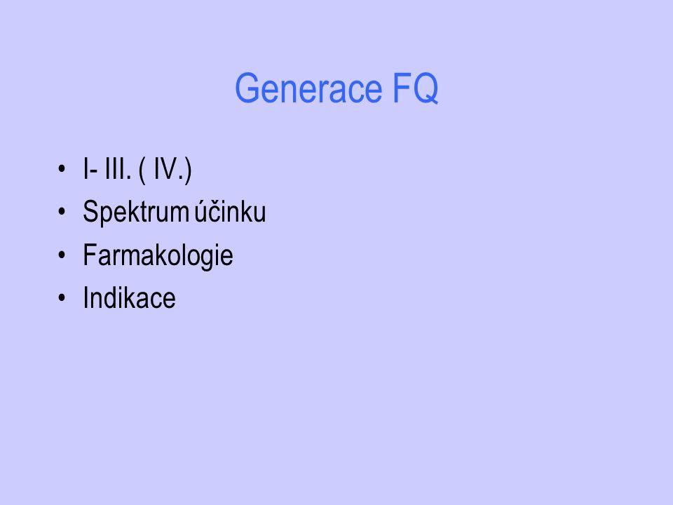 Generace FQ I- III. ( IV.) Spektrum účinku Farmakologie Indikace