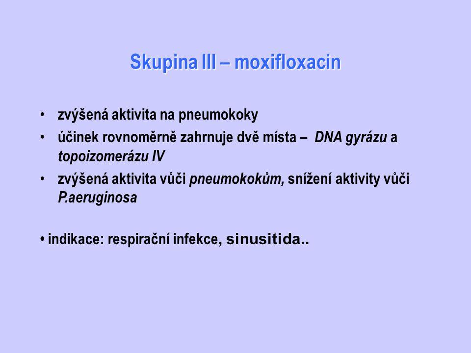 Skupina III – moxifloxacin
