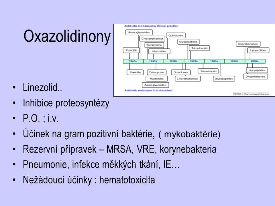 Oxazolidinony Linezolid.. Inhibice proteosyntézy P.O. ; i.v.