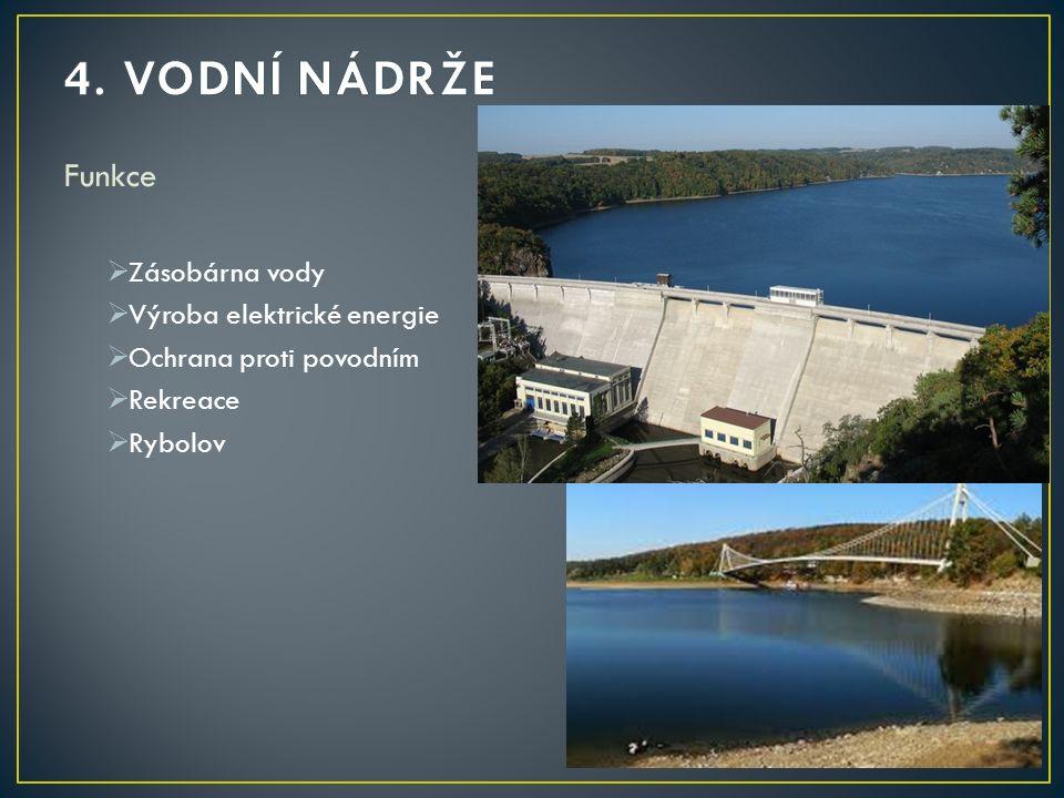 4. VODNÍ NÁDRŽE Funkce Zásobárna vody Výroba elektrické energie
