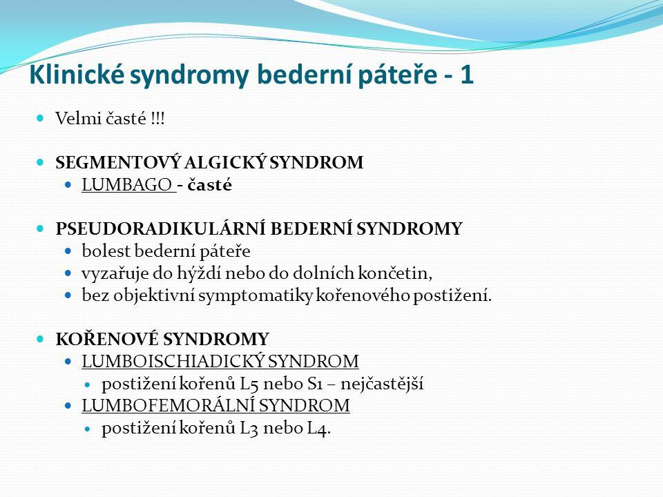 Klinické syndromy bederní páteře - 1