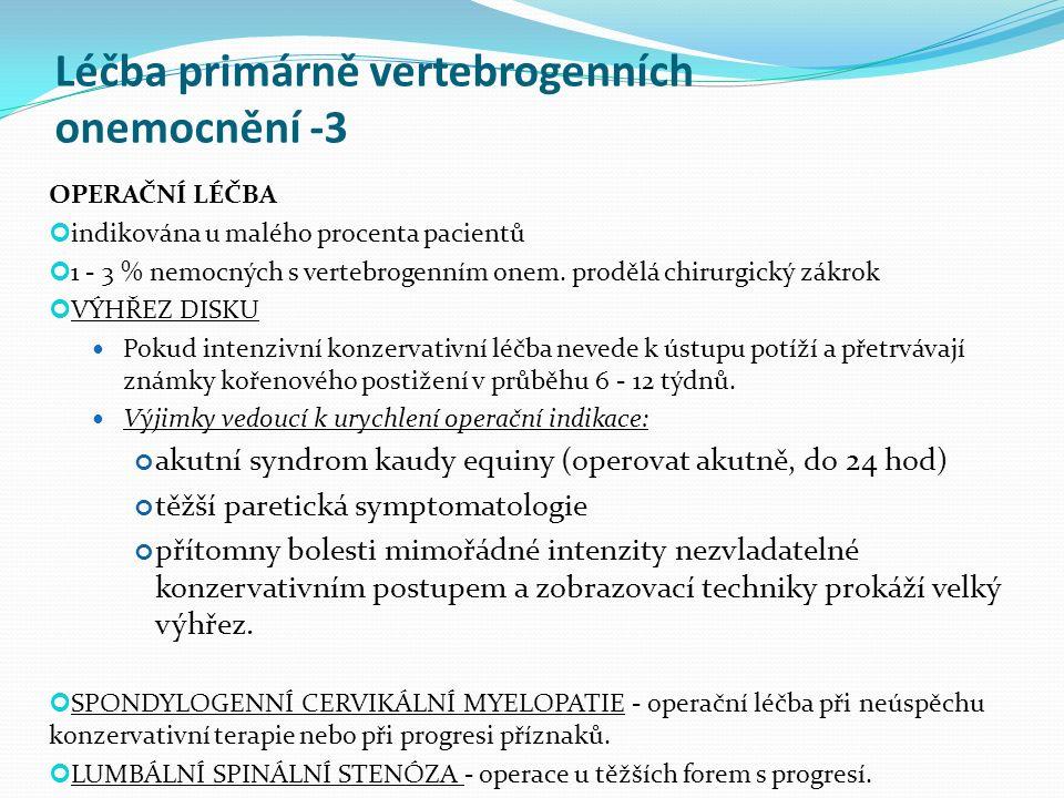 Léčba primárně vertebrogenních onemocnění -3
