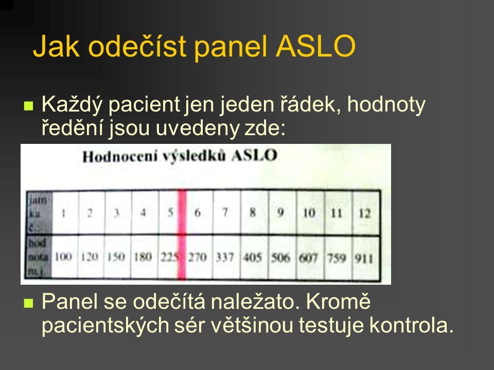 Jak odečíst panel ASLO Každý pacient jen jeden řádek, hodnoty ředění jsou uvedeny zde: