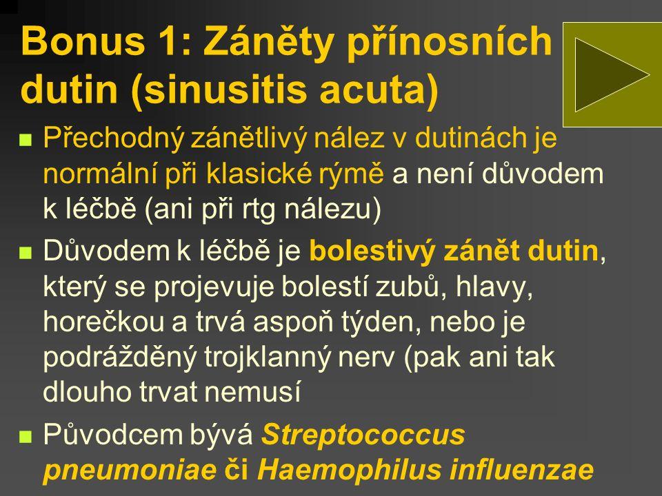 Bonus 1: Záněty přínosních dutin (sinusitis acuta)