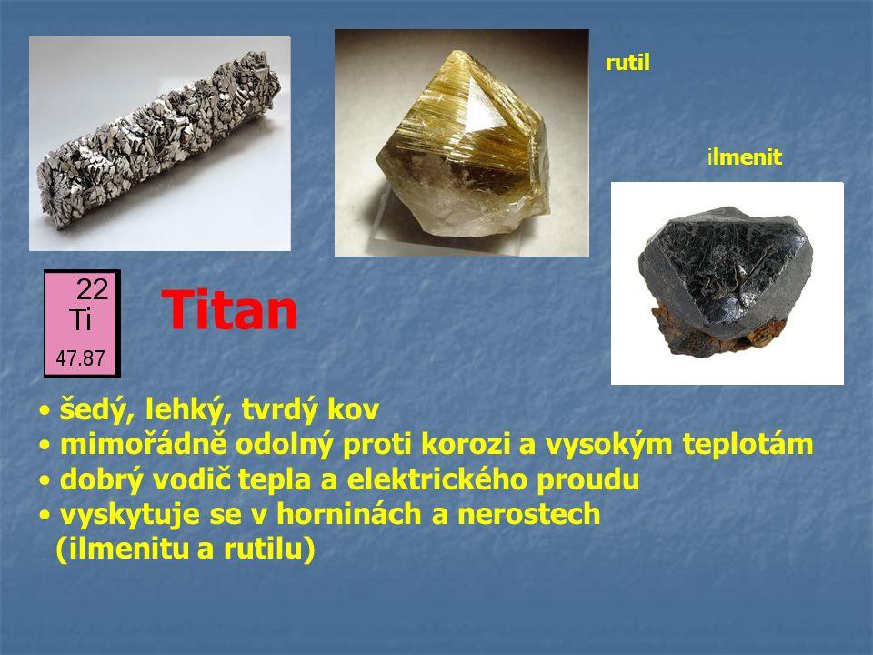Titan šedý, lehký, tvrdý kov