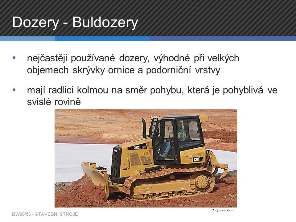 Dozery - Buldozery nejčastěji používané dozery, výhodné při velkých objemech skrývky ornice a podorniční vrstvy.