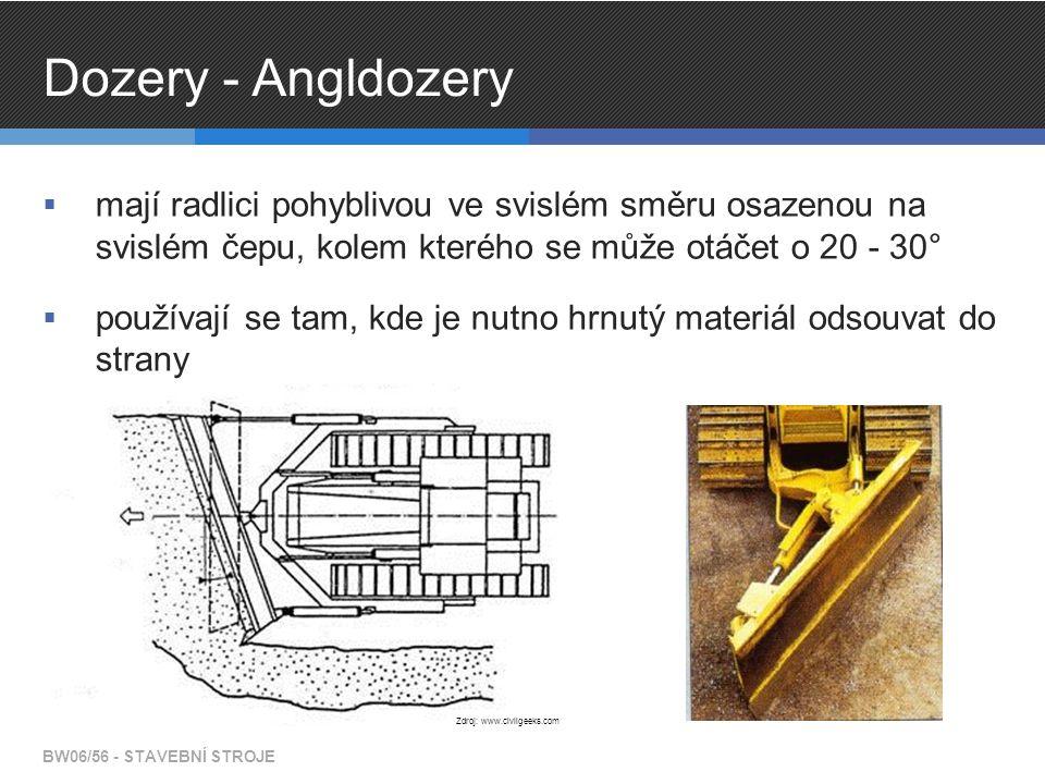 Dozery - Angldozery mají radlici pohyblivou ve svislém směru osazenou na svislém čepu, kolem kterého se může otáčet o 20 - 30°