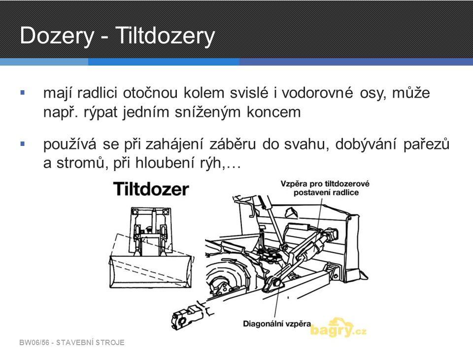 Dozery - Tiltdozery mají radlici otočnou kolem svislé i vodorovné osy, může např. rýpat jedním sníženým koncem.