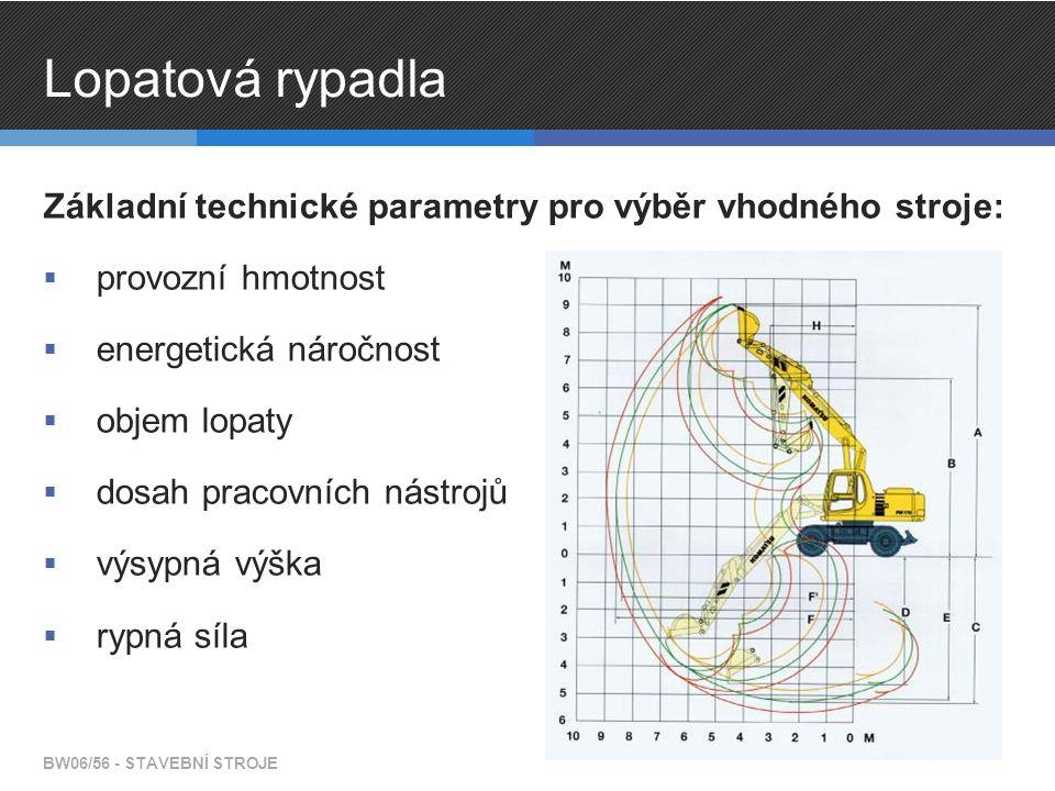 Lopatová rypadla Základní technické parametry pro výběr vhodného stroje: provozní hmotnost. energetická náročnost.