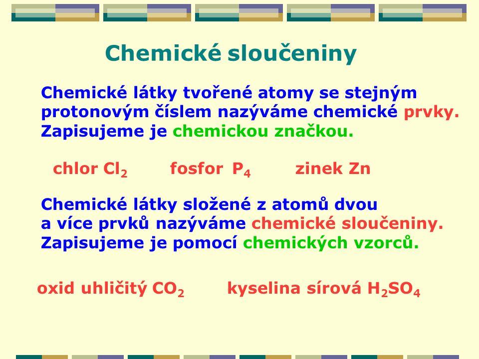 Chemické sloučeniny Chemické látky tvořené atomy se stejným