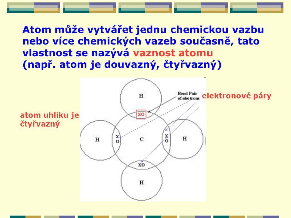 Atom může vytvářet jednu chemickou vazbu