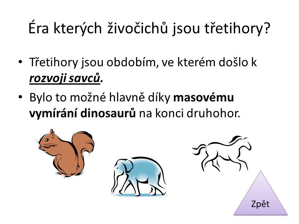 Éra kterých živočichů jsou třetihory