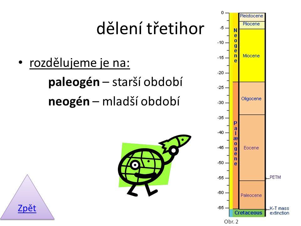 dělení třetihor rozdělujeme je na: paleogén – starší období