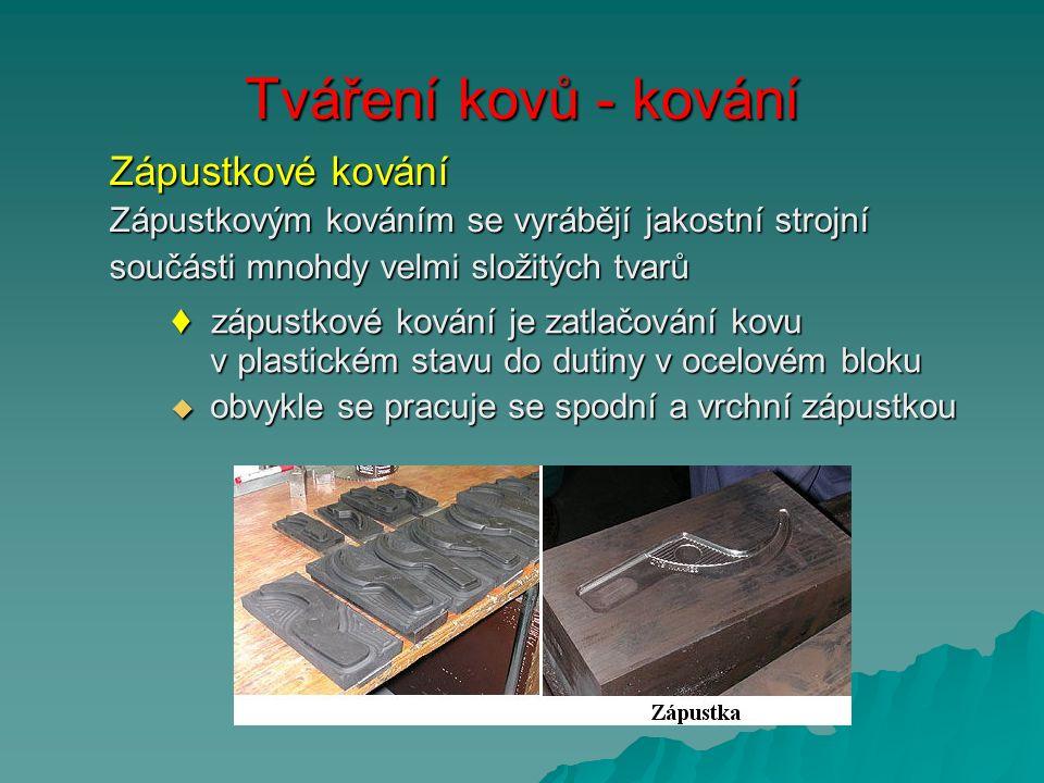 Tváření kovů - kování Zápustkové kování