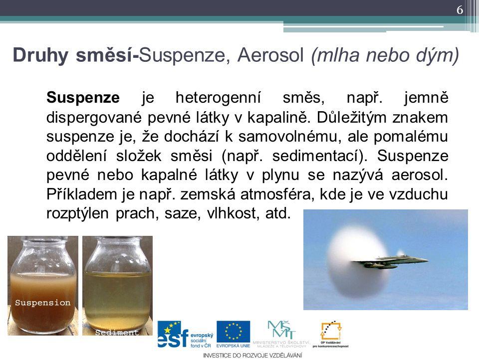 Druhy směsí-Suspenze, Aerosol (mlha nebo dým)