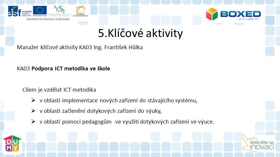 5.Klíčové aktivity Manažer klíčové aktivity KA03 Ing. František Hůlka