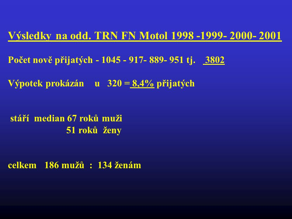 Výsledky na odd. TRN FN Motol 1998 -1999- 2000- 2001