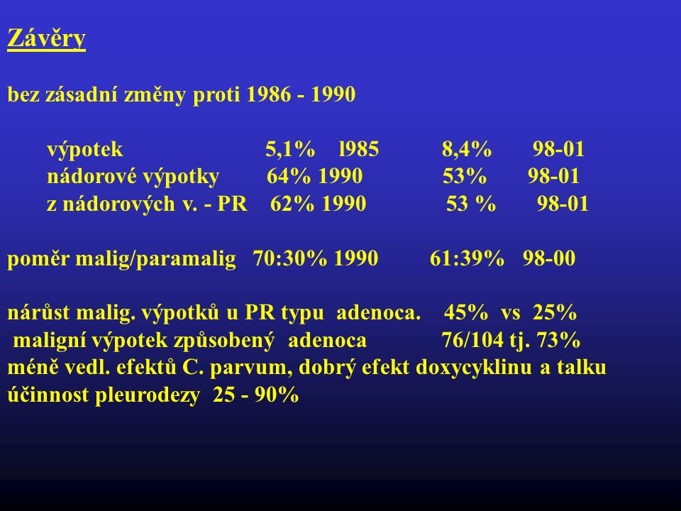 Závěry bez zásadní změny proti 1986 - 1990