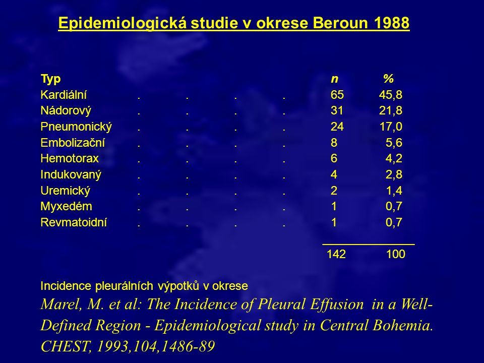 Epidemiologická studie v okrese Beroun 1988