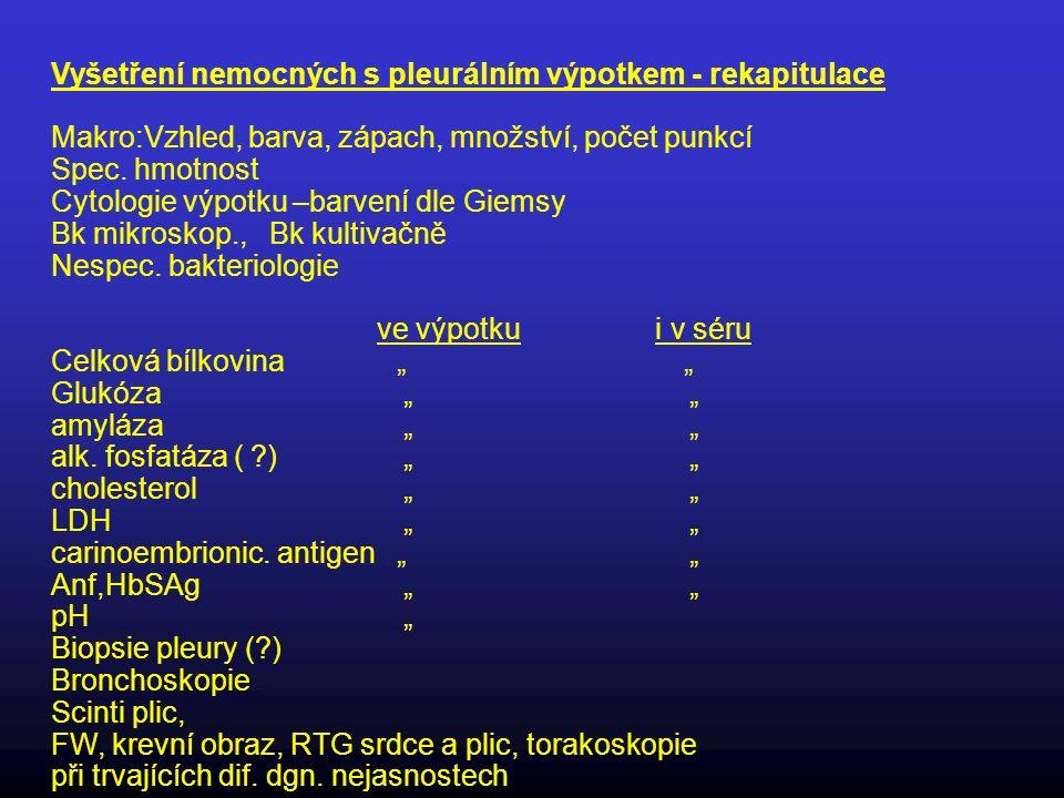 Vyšetření nemocných s pleurálním výpotkem - rekapitulace