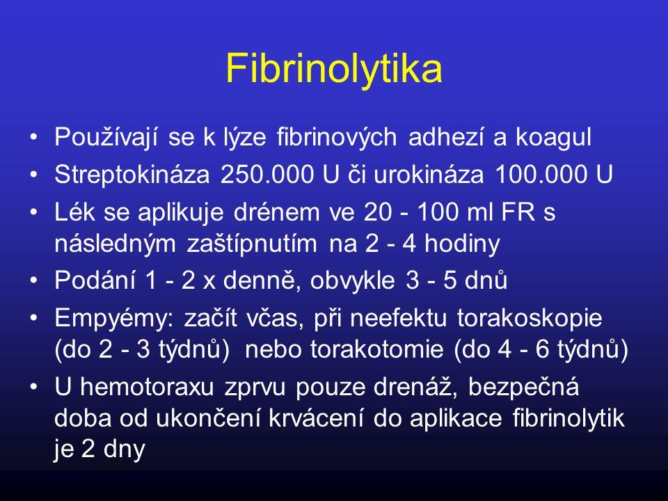 Fibrinolytika Používají se k lýze fibrinových adhezí a koagul