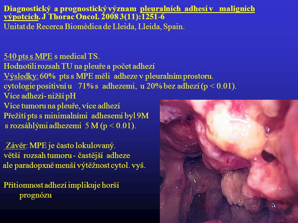 Diagnostický a prognostický význam pleuralních adhesí v maligních výpotcích. J Thorac Oncol. 2008 3(11):1251-6