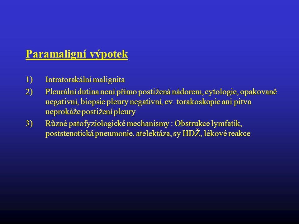 Paramaligní výpotek Intratorakální malignita