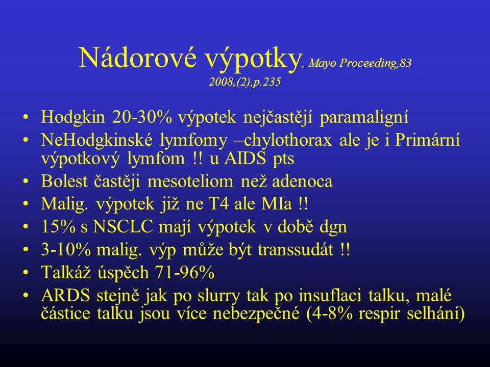 Nádorové výpotky, Mayo Proceeding,83 2008,(2),p.235