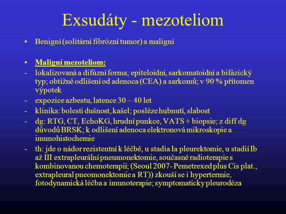 Exsudáty - mezoteliom Benigní (solitární fibrózní tumor) a maligní