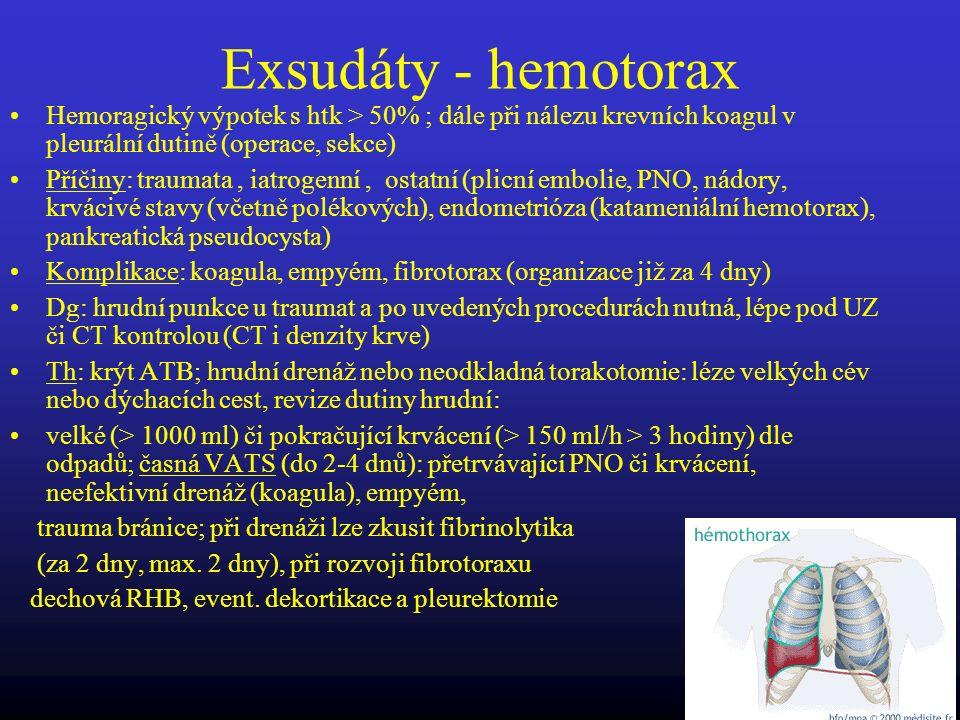 Exsudáty - hemotorax Hemoragický výpotek s htk > 50% ; dále při nálezu krevních koagul v pleurální dutině (operace, sekce)