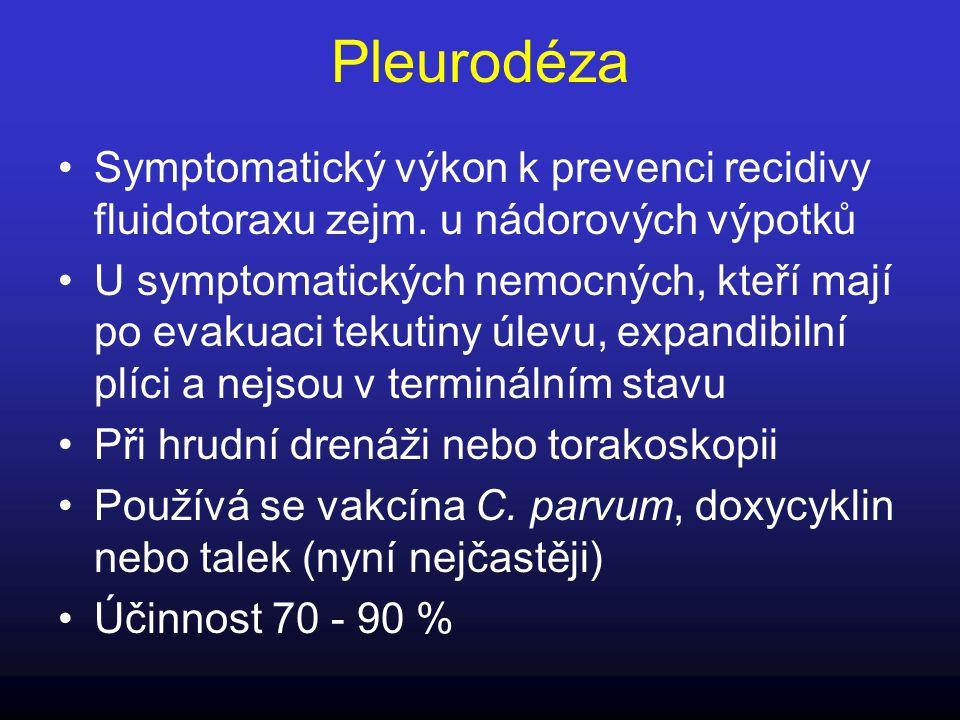 Pleurodéza Symptomatický výkon k prevenci recidivy fluidotoraxu zejm. u nádorových výpotků.