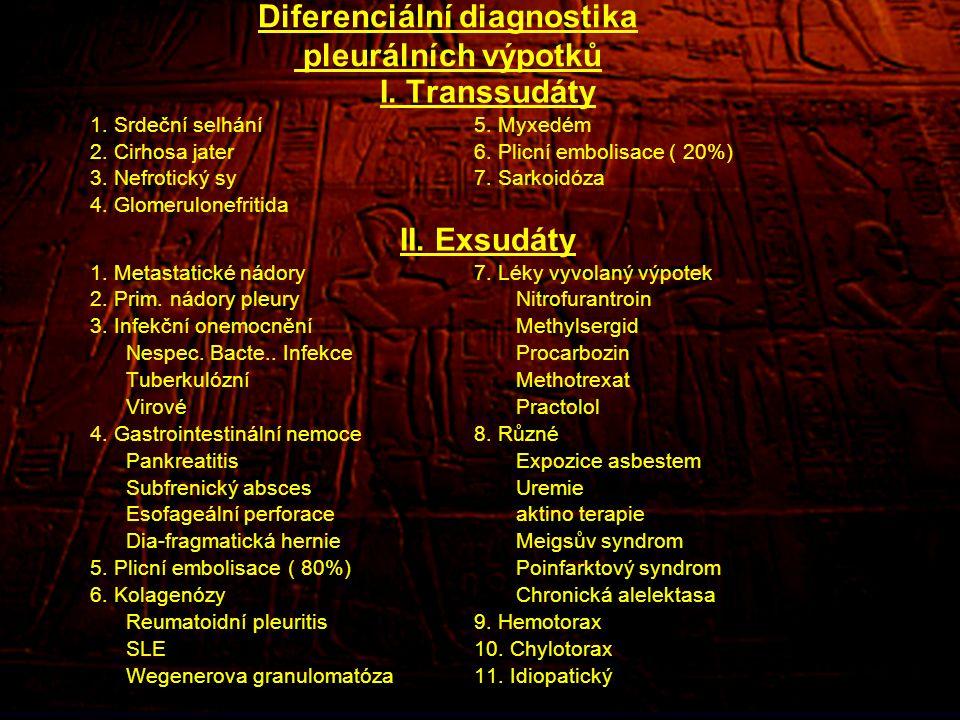 Diferenciální diagnostika pleurálních výpotků