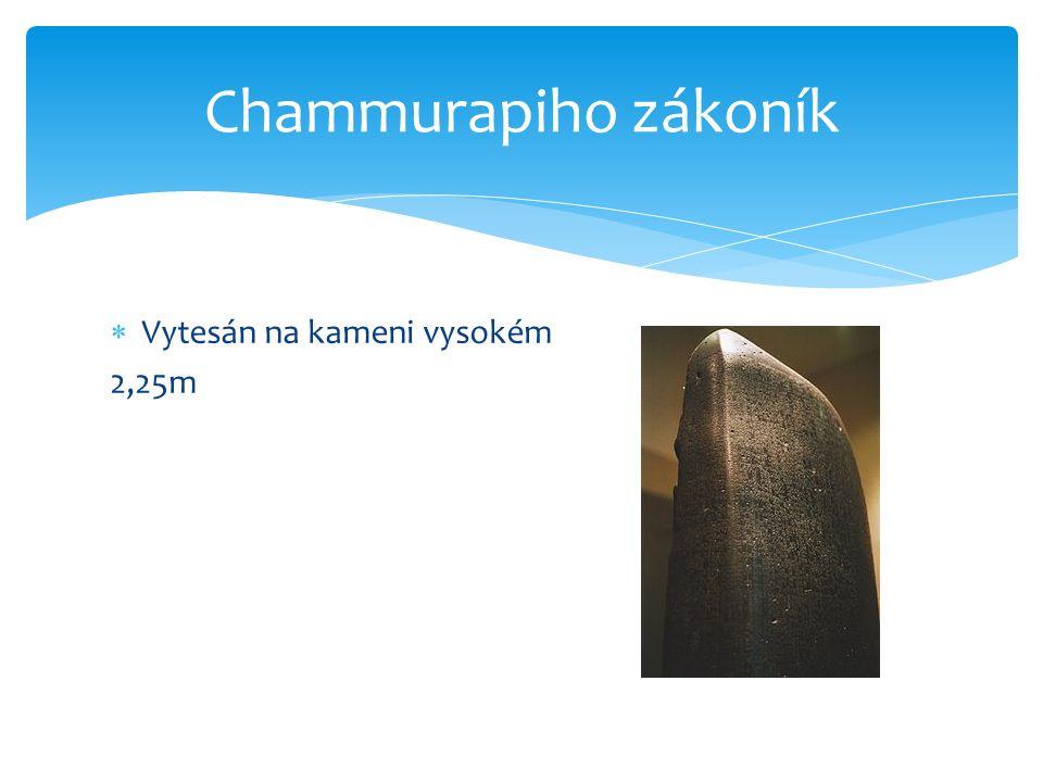 Chammurapiho zákoník Vytesán na kameni vysokém 2,25m