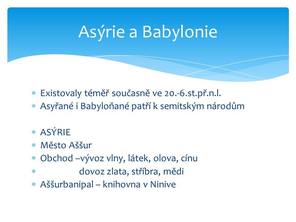 Asýrie a Babylonie Existovaly téměř současně ve 20.-6.st.př.n.l.