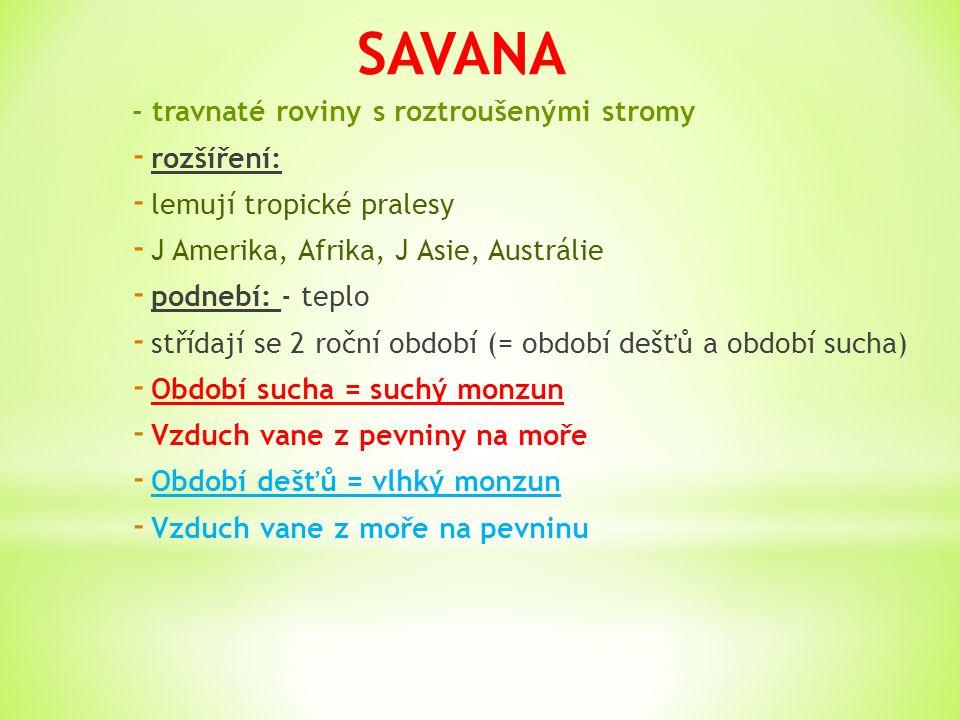 SAVANA - travnaté roviny s roztroušenými stromy rozšíření: