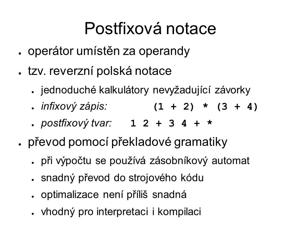 Postfixová notace operátor umístěn za operandy