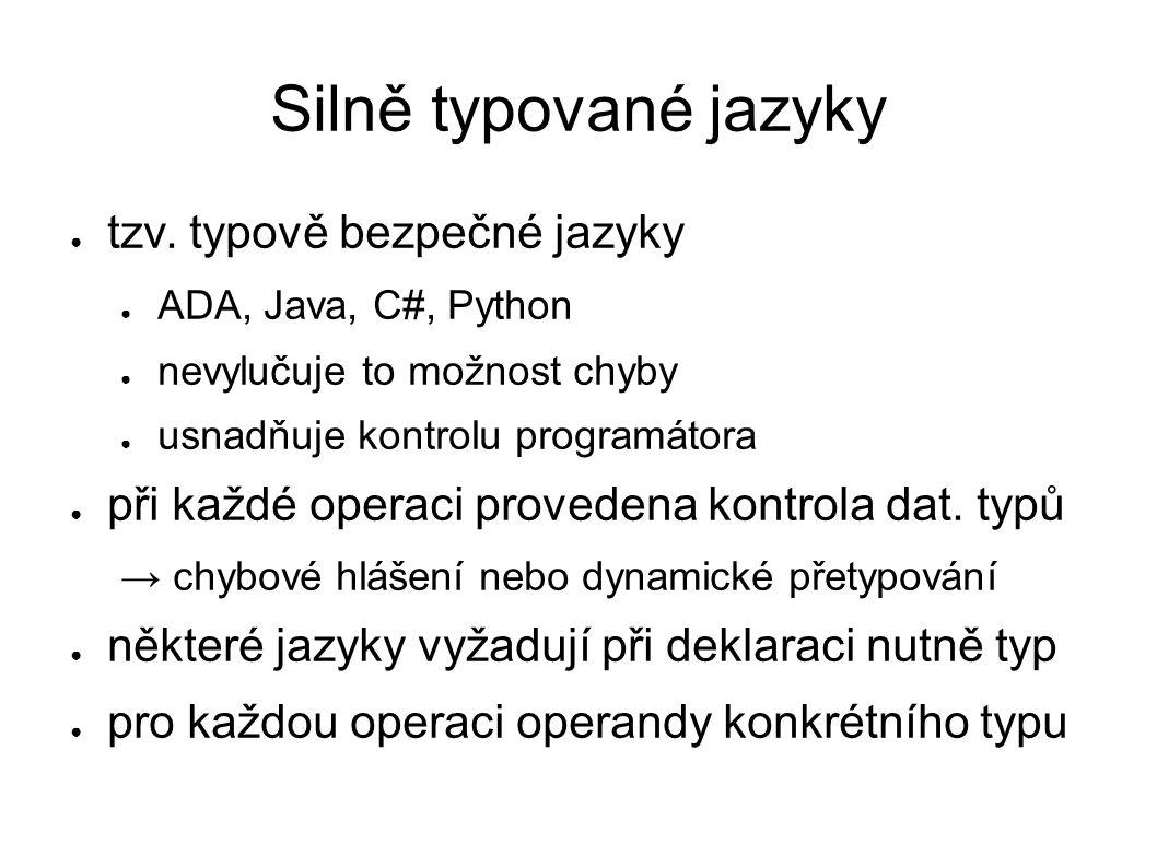 Silně typované jazyky tzv. typově bezpečné jazyky