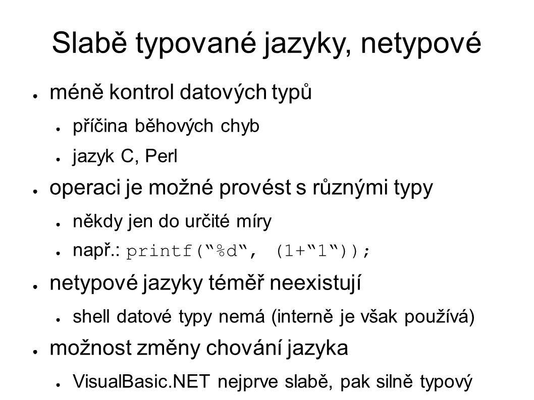 Slabě typované jazyky, netypové