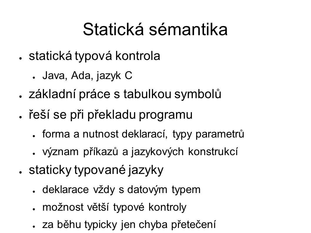 Statická sémantika statická typová kontrola Java, Ada, jazyk C