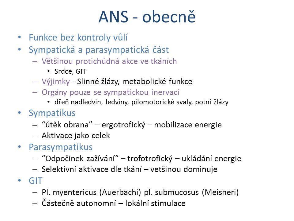 ANS - obecně Funkce bez kontroly vůlí Sympatická a parasympatická část