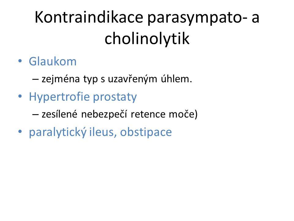 Kontraindikace parasympato- a cholinolytik