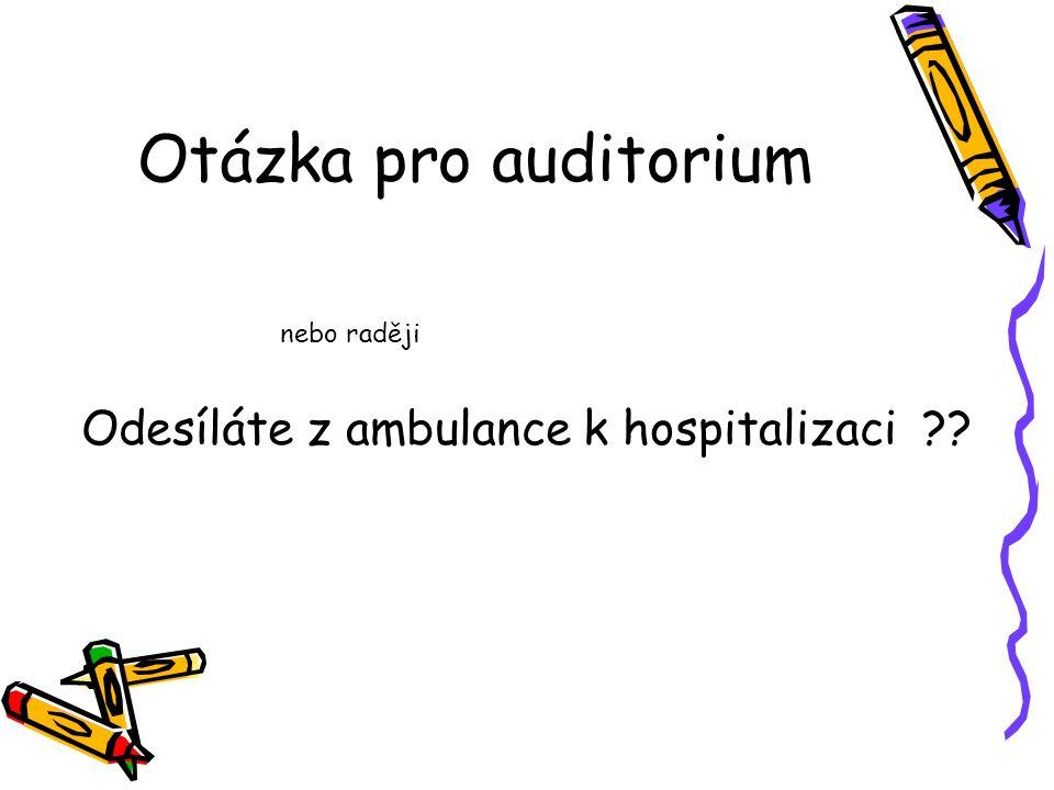 Otázka pro auditorium Odesíláte z ambulance k hospitalizaci