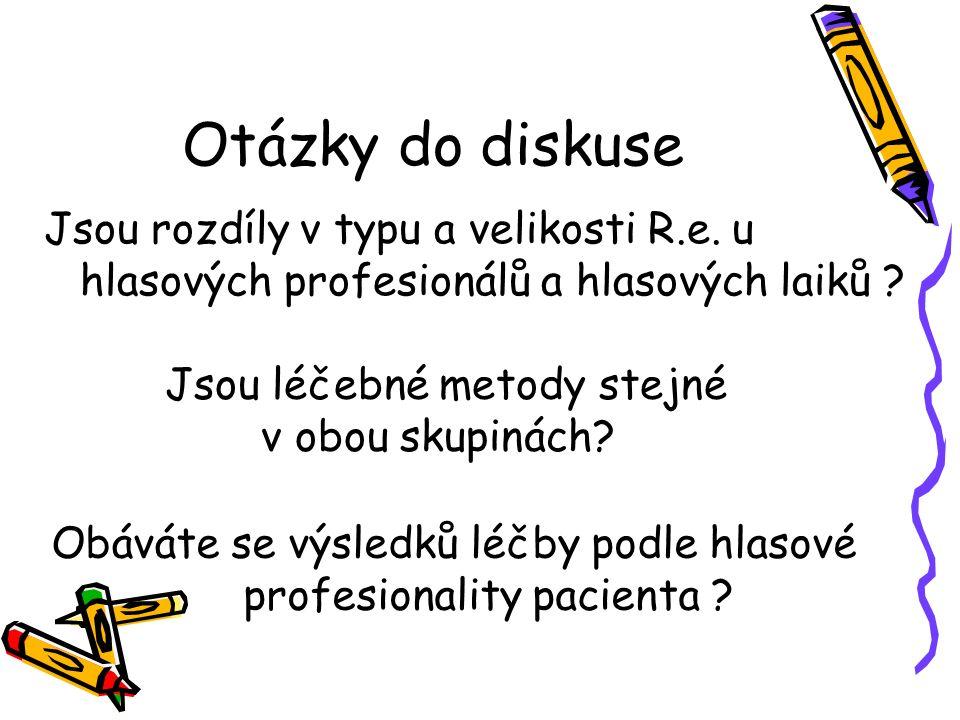 Otázky do diskuse Jsou rozdíly v typu a velikosti R.e. u hlasových profesionálů a hlasových laiků
